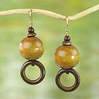 Wood dangle earrings, 'My Pleasure' - Sese Wood Bead Dangle Earrings on Brass Hooks from Ghana
