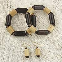 Bamboo and wood jewelry set,