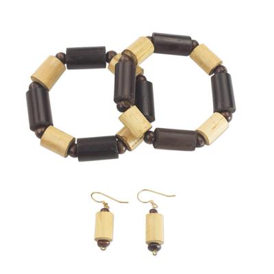 Bamboo and Sese Wood Jewelry Set Bracelets Earrings Ghana