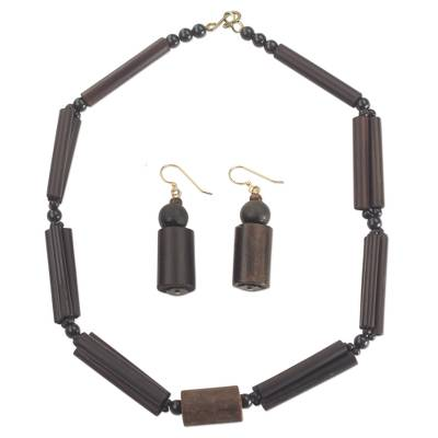 Bamboo Sese Wood and Recycled Plastic Jewelry Set Ghana