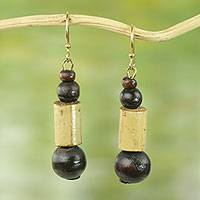 Bamboo dangle earrings, 'Ahofe' - Sese Wood Bead Dangle Earrings on Brass Hooks from Ghana