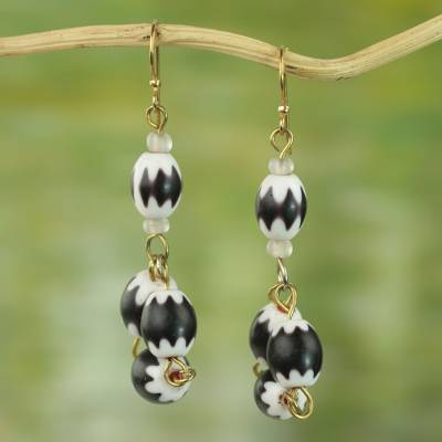 Beaded dangle earrings, 'Fanciful Delight' - Black and White Glass Bead Dangle Earrings from Ghana