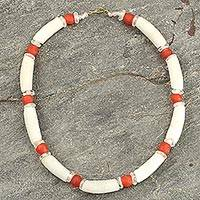 Recycled glass beaded necklace, 'African Akonfem' - Recycled Glass Beaded Necklace White Orange from Ghana
