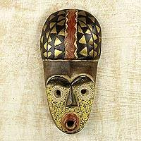 African beaded wood mask, 'Sorko Fisherman' - Wood Brass Recycled Glass Bead African Mask from Ghana