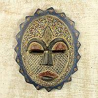 African beaded wood mask, 'Speckled Sun' - African Sun Mask Wood Aluminum Recycled Glass Bead Ghana
