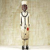 Wood sculpture, 'The Medic' - Hand Made Wood Sculpture of a Doctor from Ghana