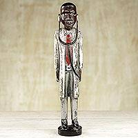 Wood sculpture, 'Good Doctor' - Hand Made Wood Sculpture of a Doctor with Suit from Ghana