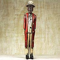 Wood sculpture, 'Figure of a Gentleman' - Hand Carved Wood Gentleman Sculpture by Ghana Artisan