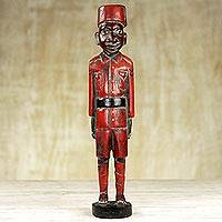 Wood sculpture, 'Old Soldier' - Hand Made Wood Sculpture of a Soldier from Ghana