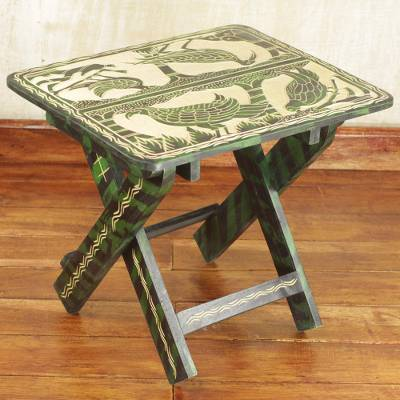 Wood folding table, 'Jungle of Birds' - Sese Wood Folding Table with Bird Motifs in Green and Beige