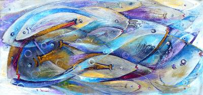 'Interdependency' - Abstract Themed Painting with Blue Fish Signed by Artist