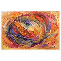 'Unity II' - Unity Themed Painting with Orange Fish Signed by Artist
