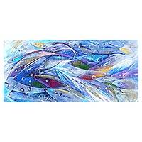 'Unity in Diversity' - Diversity Themed Painting with Blue Fish Signed by Artist