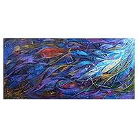 'Liberty' - Liberty Themed Painting with Blue Fish Signed by Artist