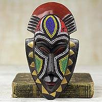 African wood mask, 'Jama' - Handmade Wood Wall Mask with Glass Bead and Brass Accent