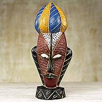 African wood mask, 'Mask of Strength' - Carved Sese Wood Mask Featuring Brave and Chivalrous Temper