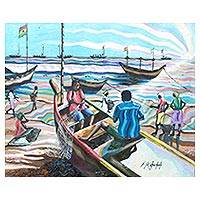 'Apam Beach' - Fishermen on an Accra Beach Painting from Ghana