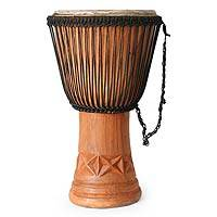 Wood djembe drum Visual Balance Ghana