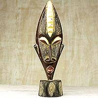 African wood mask, 'Good Luck Shine' - Ghanaian Hand Carved Free Standing Mask in Black and Gold