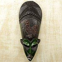 African wood mask, 'Stalwart Rooster' - Ghanaian Hand Carved Sese Wood Mask with Rooster