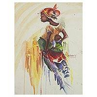 'Pride of an African Mother' - Signed Expressionist Mother and Child Painting from Ghana