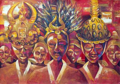 'Hierarchy of Ashanti Chieftancy' - Red Cultural Painting of People from Ghana