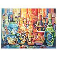 'Creative Hands' - Multicolored Expressionist Painting of Vases from Ghana