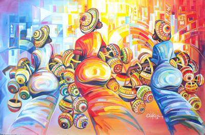 Multicolored Expressionist Painting of Women from Ghana