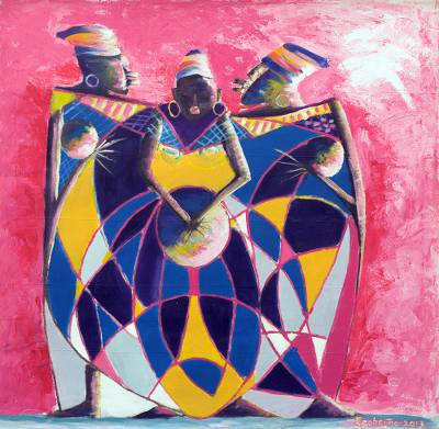 'Voice From Their Hands' (2016) - Expressionist Painting in Pink and Purple from Ghana