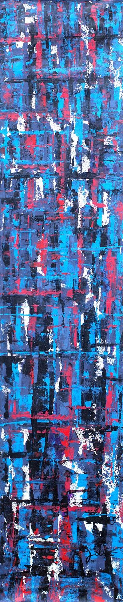 Dark Blue Abstract Acrylic Signed Painting from Ghana