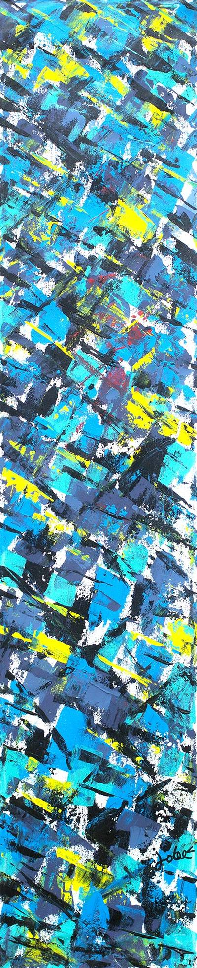 'Freshness' - Teal Abstract Signed Acrylic Painting from Ghana