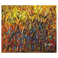 'Free Movement' - Yellow and Brown Abstract Signed Art Painting from Ghana