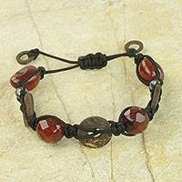 Agate beaded bracelet, 'Faith Knots' (Ghana)