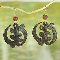 Coconut shell and recycled glass dangle earrings, 'Reverent Adinkra' - Coconut Shell and Recycled Glass Bead Dangle Earrings