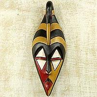 African wood mask, 'Yamha Dove' - Ghana Wood Mask Hand Carved Multicolor