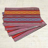 Cotton placemats, 'Striped Nunana' (set of 4) - Multicolored Striped Cotton Placemats (Set of 4) from Ghana