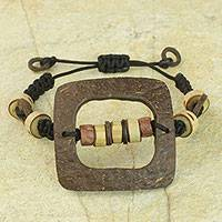 Coconut shell and bamboo pendant bracelet, 'Bold Squares' - Handcrafted Earth Tone Bracelet with Coconut Shell Beads
