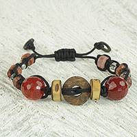 Agate and recycled glass beaded bracelet,