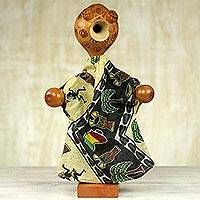 Calabash sculpture, 'African Gown Wearer' - Hand Made Calabash Sculpture with Clothing from Ghana