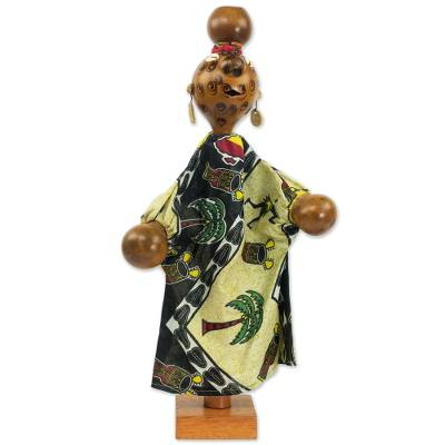 Hand Made Calabash Decorative Puppet from Ghana