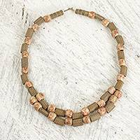 Wood beaded necklace, 'Melodious Beauty' - Wood and Recycled Plastic Beaded Necklace from West Africa