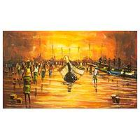 'Fishers of Fish' - Orange Impressionist Painting of Boat Scene from Ghana