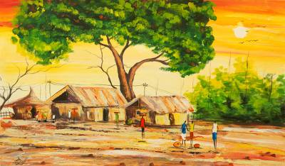 'Northern Settlement' - Acrylic Impressionist Painting of Village Tree from Ghana