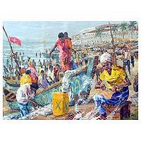 """A crowd of people go about their daily lives on the beach, working on boats and preparing fish in this domestic painting by Ghana's Alfred Cran-Mensah. The artist works in the impressionist style, painting the scenery and people with expressive strokes that cause shapes and forms to blend together. He names it """"A Call of Urgency,"""" reflecting the way people will join forces to quickly accomplish their work."""