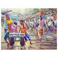 """Workers go about their typical days in this impressionist painting from Ghana, featuring a colorful palette and style that allows the shapes and forms to blend together. In the foreground are two men atop a cart, with the inscription """"Man pass man."""" Presented by Alfred Cran-Mensah, this painting brings a touch of Ghanaian culture to any home."""