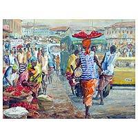 'Capital Hour' - Acrylic Impressionist Painting of a Cityscape from Ghana
