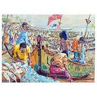 'Dignity in Labor' - Impressionist Painting of People and Boats from Ghana