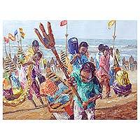 'Raising Future Leaders' - Impressionist Painting of Children at the Beach from Ghana