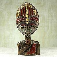 African wood sculpture, 'Lorlonyo' - Ghanaian Hand Carved Sese Wood and Aluminum Sculpture