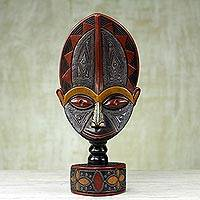 African wood sculpture, 'Me Lorwo' - Hand Carved West African Sese Wood Tabletop Sculpture